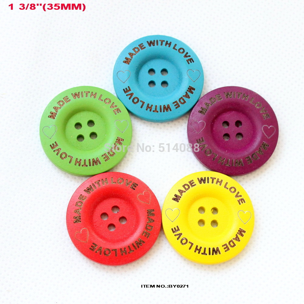 Bulk buttons for crafts -  5colors 50pcs Lot 35mm Made With Love Laser Wooden Button Craft Bulk Red Yellow Blue Green Purple Mix Color 1 4 By0271