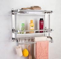 Bathroom shelf 1 layer 2 layer 3 layer hardware wall mount free punch towel rack stainless steel bathroom towel rack lo417326