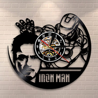 2018 Time limited Real Klok Relogios De Parede Saat Feee Shipping Music Wall Clock Vinyl Retro Nostalgia Iron Man Strongest