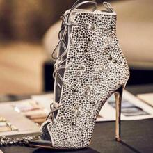 Gold Champagne Crystal Embellished Ankle Boots Peep Toe Lace-up Gladiator Sandal Boots For Women Thin Heels Dress Shoes Big Size 2017 new fashion denim sandal boots peep toe cutouts side zip woman thin heels holloe out summer gladiator boots