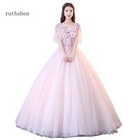 Ruthshen 2018 Quinceanera Dresses Sweet 16 Organza Appliques Debutante Quinceanera Gowns Cap Sleeves Party Dresses For