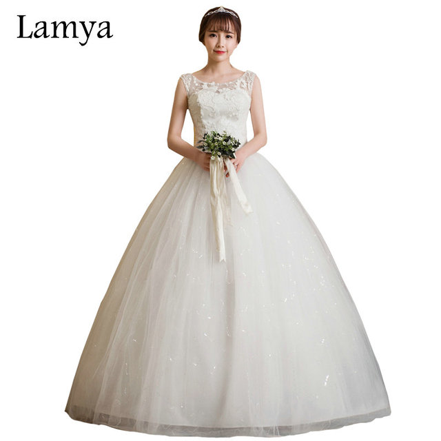 Lamya Princess Elegant 2017 Sexy Lace Up Wedding Dresses Cheap Plus Size Bridal Gowns Women