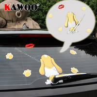 KAWOO Car-Styling Reflective Cartoon Dog Kiss Moving Tail 3D Animal Stickers Car Rear Window Windshield Wiper Decals 17.5*25CM