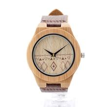 БОБО ПТИЦА Бамбук Часы для Мужчин Ручной Работы Деревянные Часы с Дерева Зерна Кожа Часы 3Bar Водонепроницаемость Водонепроницаемые Часы E16