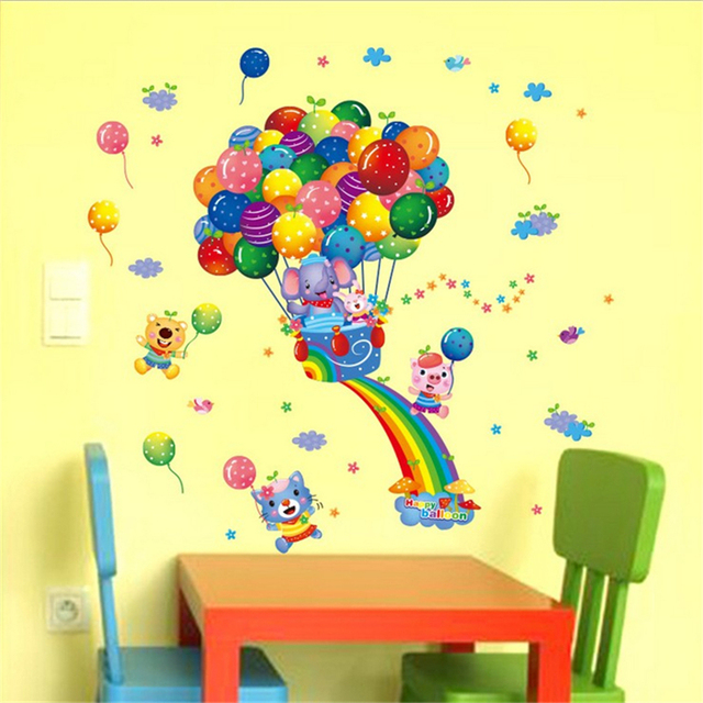 1Pcs Cartoon Rainbow Balloon Elephant Vinyl Wall Stickers For Kids ...