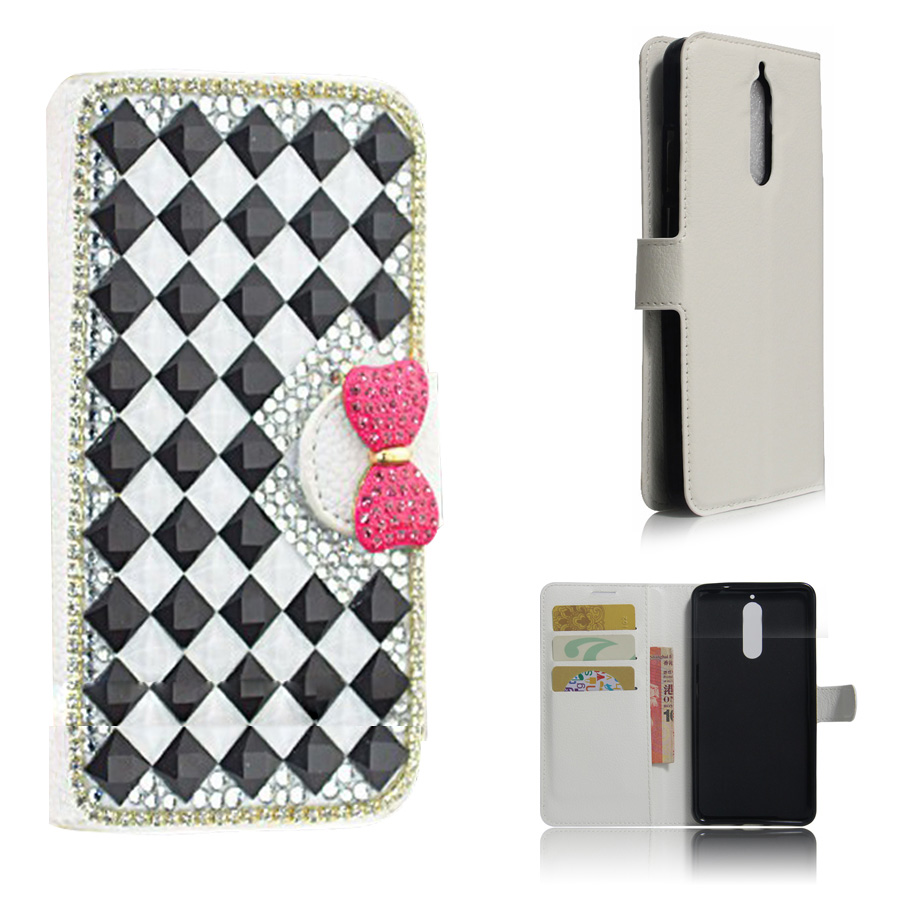 3D Cute DIY Full Box Bling Rhinestone Leather Stand Flip Stand Wallet Phone Cases Cover For Huawei mate 9 Pro with card slot