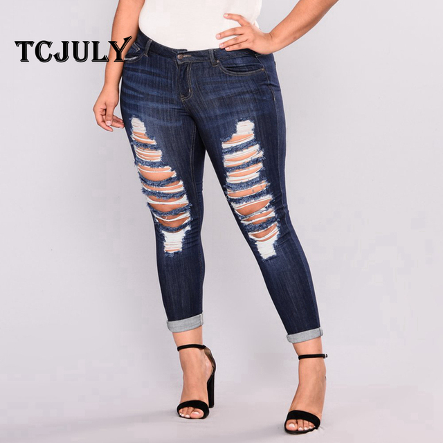 Distressed Women's Elegant Denim Jeans Large Sizes XXL-7XL Push Up Ripped With Hole Skinny Casual Stretchy Pencil Pants