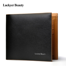 Luckyer Beauty New Designer Short Wallets Men High Quality Genuine Leather Black Casual Luxury Brand Clutch