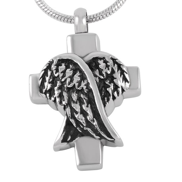 Stainless Steel Cross And Angel Wings Urn Necklace