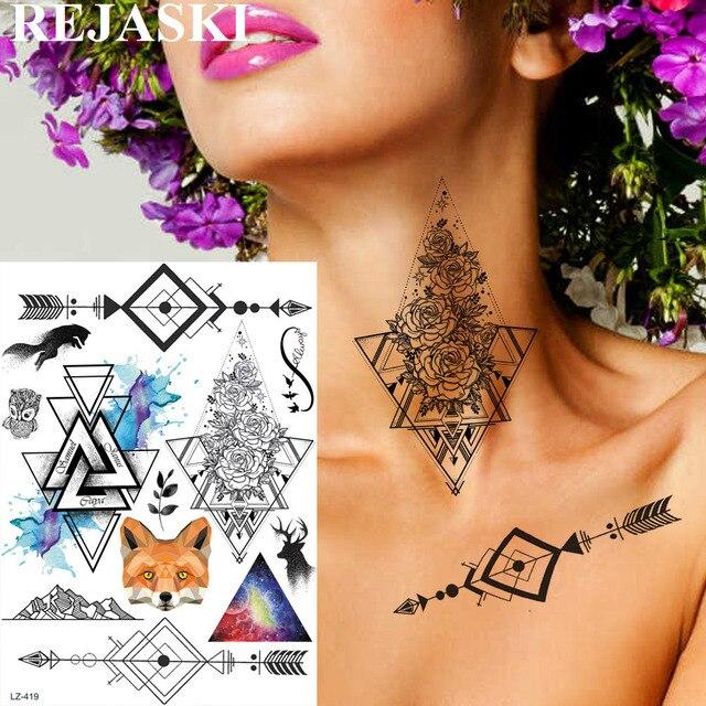492c2f0582404 REJASKI Watercolor Triangle Arrow Temporary Tattoo For Women Kids Sticker  Geometric Rose Flower Fox Fake Tatoos Big Tattoo Paper