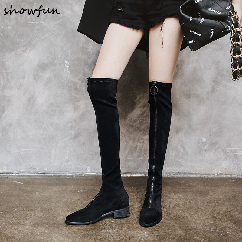 цена Plus Size 33-43 Women's Genuine Suede Leather Black Slim Stretch Front Zip Winter Over The Knee Boots Designer Long Boots Shoes