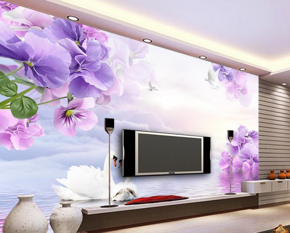 3d flower wallpaper dream purple flowers tv backdrop 3d wallpaper