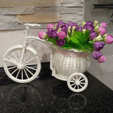 2017 Rattan Tricycle Bike Flower Basket Container Vase Storage Garden Wedding Party Decoration Office Bedroom Holding Candy Gift