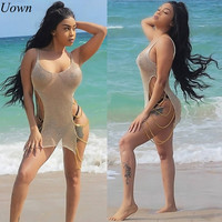 Shiny Summer Women Beach Dress Backless Sexy Gold Iron Chain Cutout Hollow Out Crochet Bodycon Mini