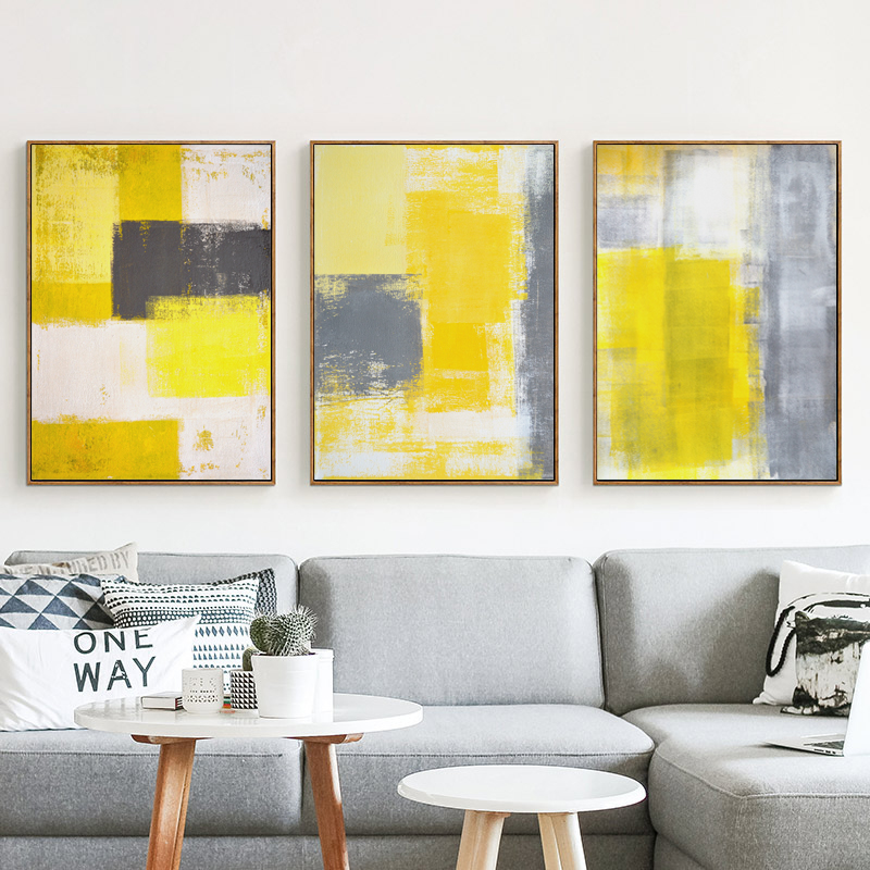 Abstract Paint Yellow Gray And White Canvas Painting Art Print Poster Picture Wall Bedroom Home Decor