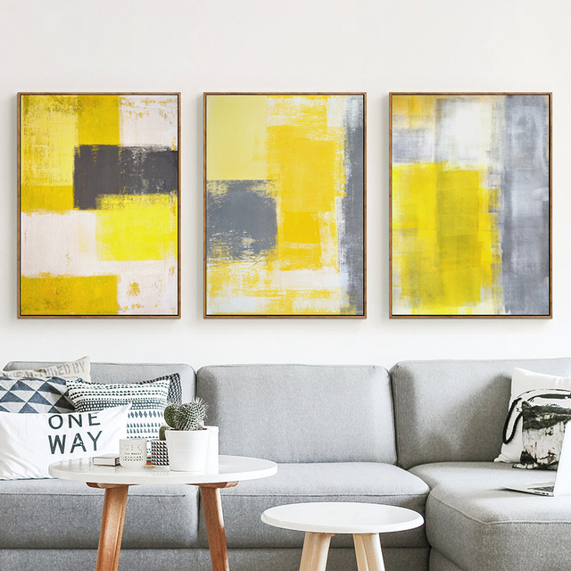 Abstract Paint Yellow Gray And White Canvas Painting Art Print Poster Picture Wall Bedroom Home