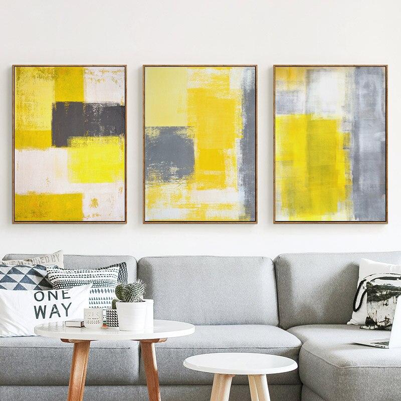 Peinture abstraite jaune gris et blanc toile peinture Art imprimer ...