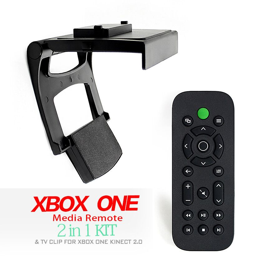 Game accessories with DVD Media Remote Control for Xbox One + TV Clip Mount Dock Holder Stand for Microsoft Xbox One Kinect 2.0