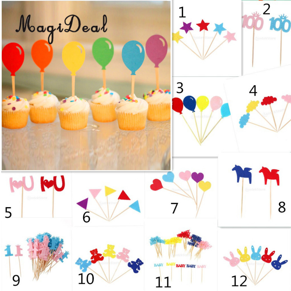 MagiDeal 50pcs/Lot Colorful Food Picks Party Toothpick Cupcake Cocktail Birthday Baby Shower Wedding Party Decor Cake Toppers