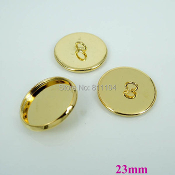 23mm New Gold tone Plated Copper Blank Bases Circle Round Bezel Cabochon Settings Caps Buttons Back Loop Findings Wholesale