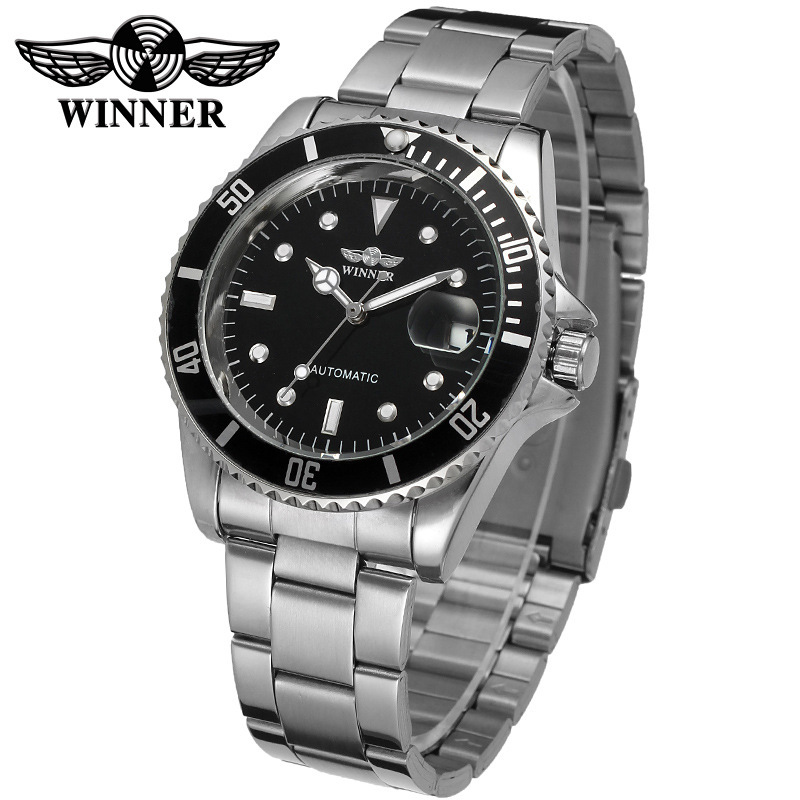 2018 Fashion WINNER Men Luxury Brand Date Display Stainless Steel Watch Automatic Mechanical Business Wristwatch Relogio Releges winner men luxury brand self wind skeleton leather crystal analog watch automatic mechanical wristwatch gift box relogio releges