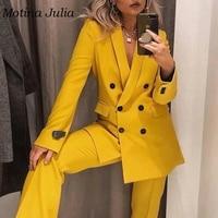 Motina Julia chic yellow blazers women double breasted blazer outerwear jackets coats streetwear 2019 trendy female blazers tops