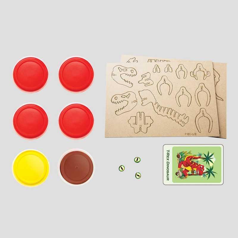 Робод Сделай Сам Фигурка динозавра модель безопасная и Нетоксичная глина с 3D Деревянный Подарок пазл обучающая игрушка для детей