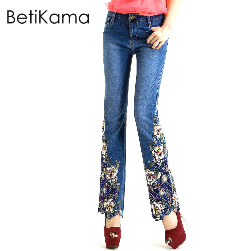 все цены на Flower Pattern Embroidered Jeans Woman Skinny Jeans Elastic Denim Flare Pants High Waist Stretch Jean Feminine Push Up Jeans 34