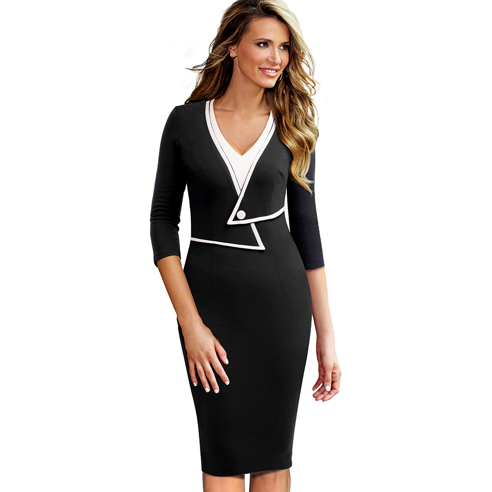 OUFANGMEIYI Store Women Vintage Brief Solid Patchwork Button Elegant Casual Work 3/4 Sleeve V-Neck Bodycon Autumn Office Lady Dress EB413