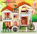 Kit DIY casa de bonecas de madeira em miniatura casa de bonecas Caravan caixa de música em casa / controle de voz com instrução inglês casa de bonecas