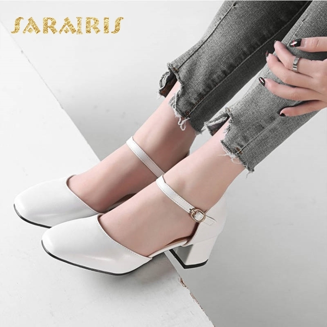 e9d692a61b SaraIris Mary Jane Belt Strap Buckle Up Chunky Heels Summer Party Wedding  Leisure Shoes Woman Sandals Large Size 33-48