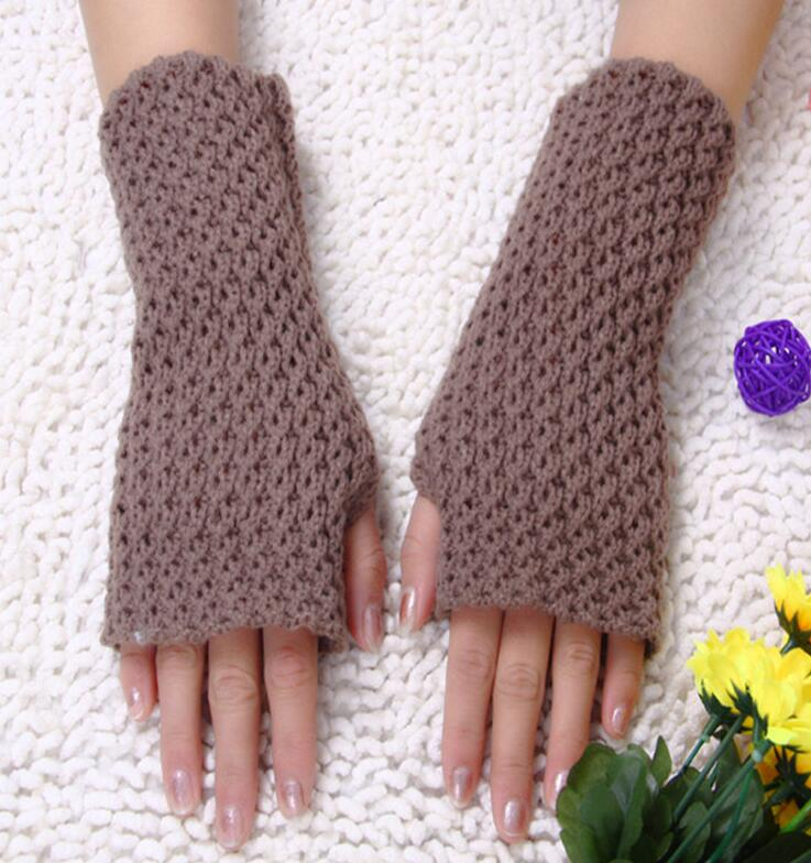 Autumn And Winter Women's Solid Color Thicken Warm Knitted Gloves Lady's Winter Fingerless Arm Sleeve Mesh Glove R145