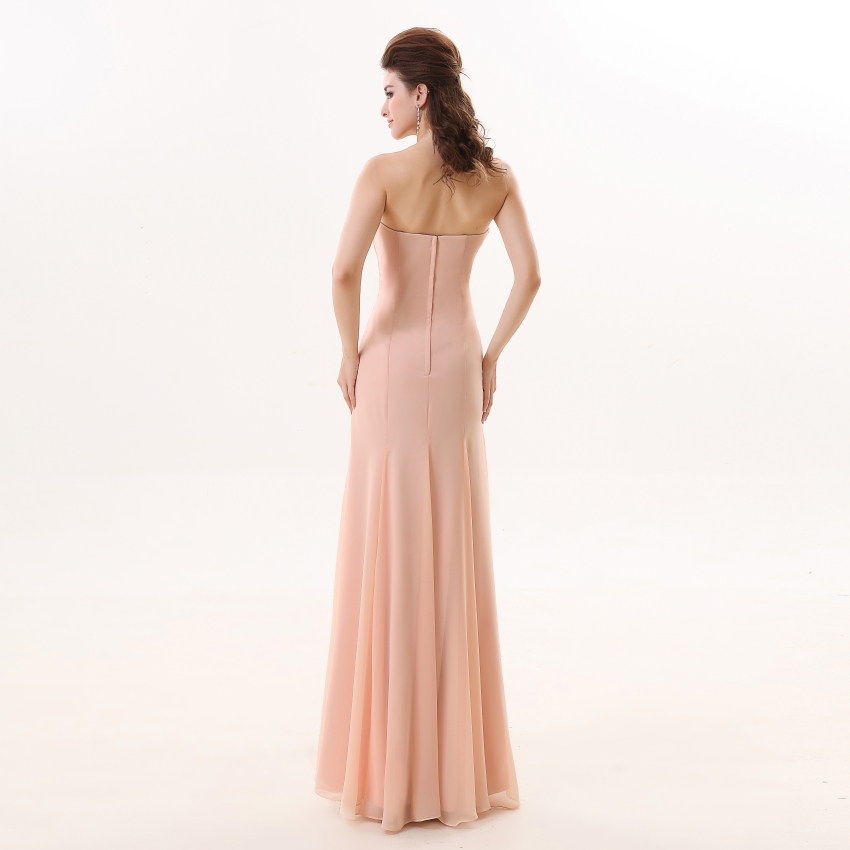 Vestidos de dama de honor 2019 YOUXI BD012 vestidos de Chifón con relleno suave rosa - 5