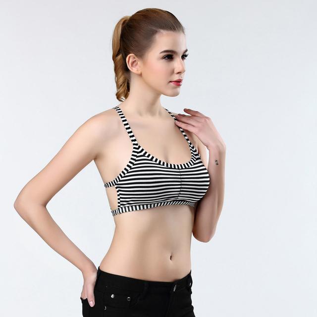100PCS/LOT  2017 new fashion  Women Tight Bustier Crop Top Skinny Sexy stripe Short Vest Tank Tops