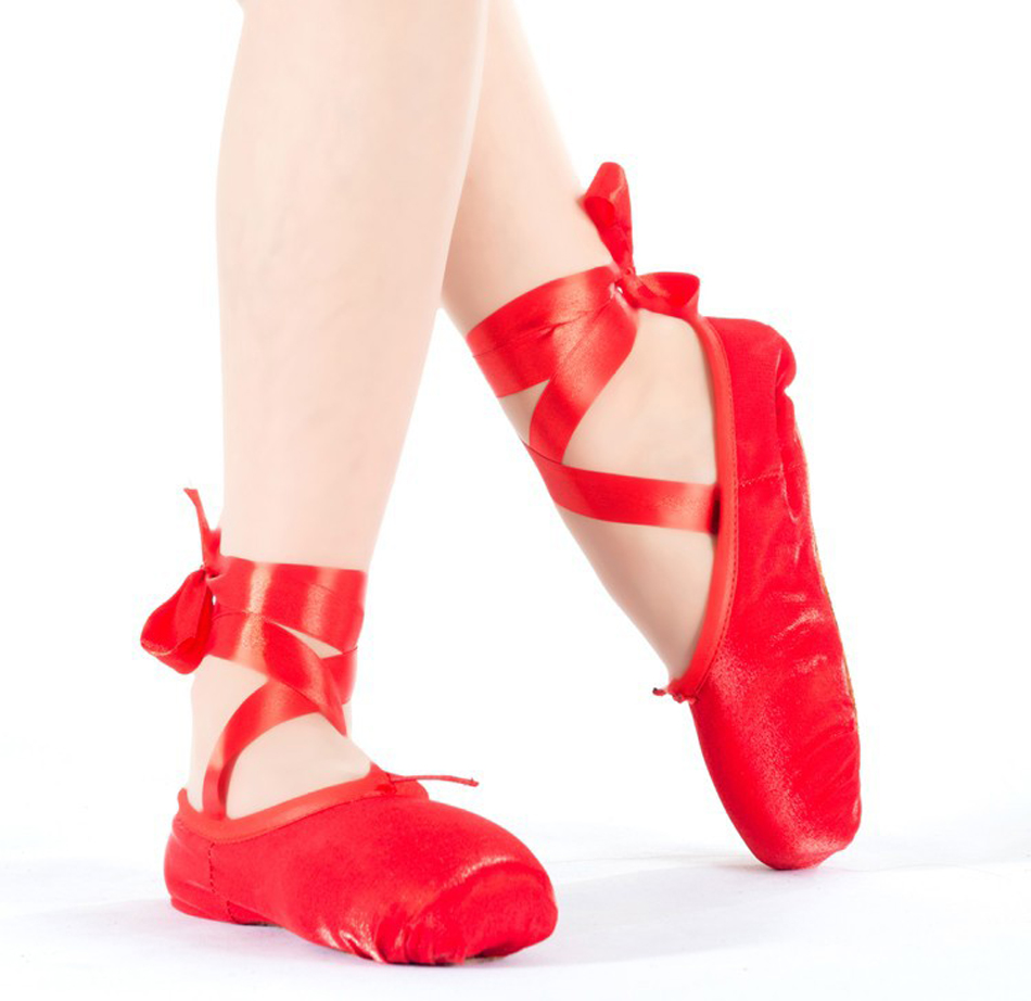 Red Satin Ballet Shoes Size