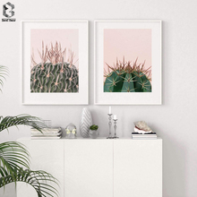 California Cactus on Pink Succulent Plants Poster Leaf Wall Art Print Posters And Prints Canvas Painting Quadro Pictures