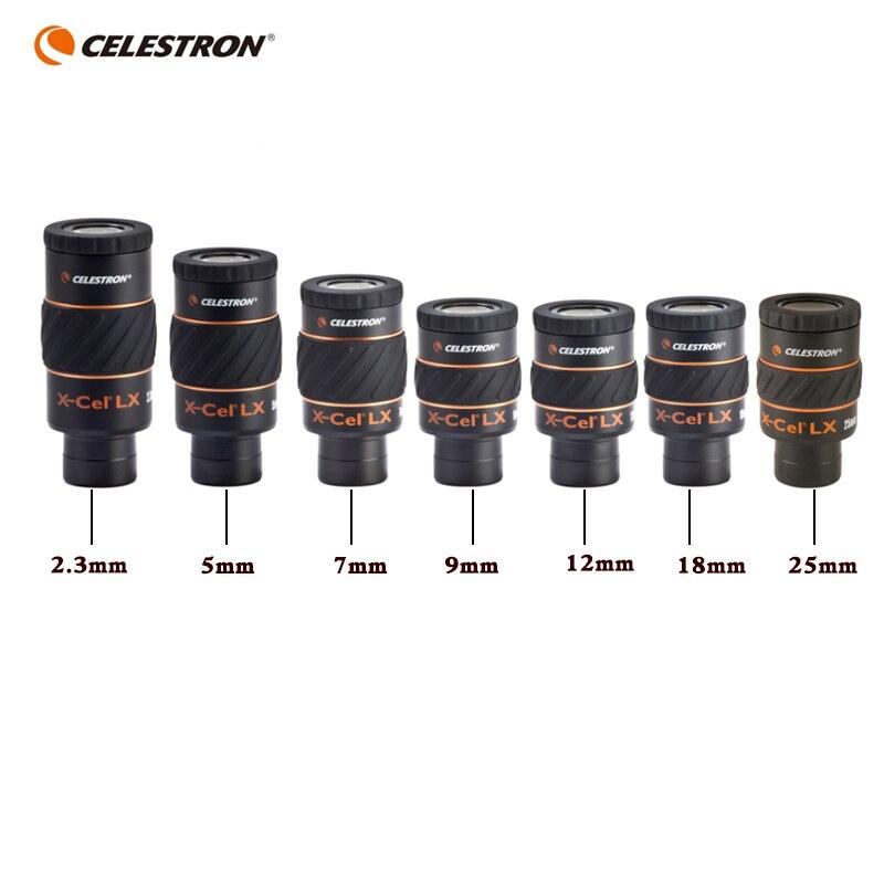 """Celestron X-CEL LX 2.3mm 5mm 7mm 9mm 12mm 18mm 25mm oculaire 60 degrés grand angle télescope nébuleuse oculaire planétaire 1.25"""""""