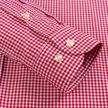 Men's Standard-Fit Long-Sleeve Micro-Check Shirt Patch Pocket Thin Soft 100% Cotton White/red Lines Checked Plaid Dress Shirt