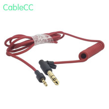 90 degree right angled 3.5mm and 6.35mm (1/4 Inch) Stereo Audio Plug to Stretch Cable Red color
