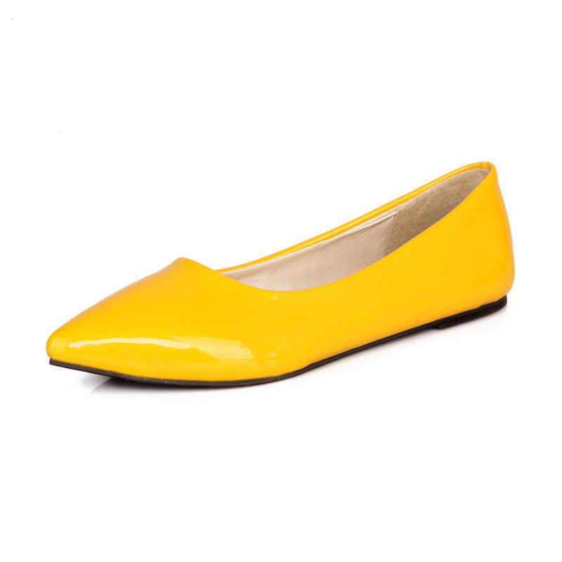 Lseilly flats gran oferta Azul Rojo amarillo negro verde brillante charol mujeres Nude zapatos planos para mujer talla grande 43 4,5 10 S005