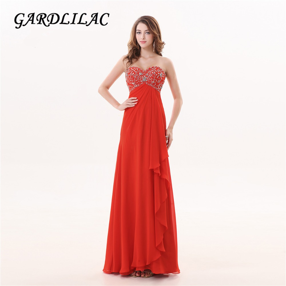Gardlilac Chiffon Röd Long Evening Dress med Beading Off Shoulder Formell Party Dress Sweetheart Ärmlös Aftonfest Kappor