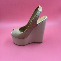 Khaki Soft Leather Women Wedge Sandals Peep Toe High Heels With Platform Slingbacks Platform Shoes Size 12 Pumps Shoes Woman