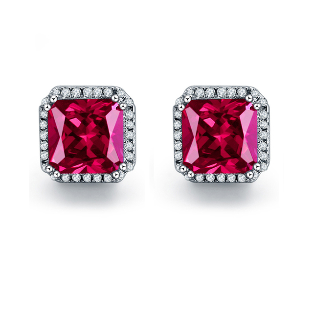 JQUEEN Ruby red earrings Princess Cut 925 sterling silver earrings 3Ct bijoux wedding earrings vintage stud earrings