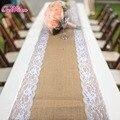 DHL10pcs/lot Natural de Serapilheira Hessian Corredor Da Tabela Tampa Toalha de Mesa Do Vintage para o Casamento Decoração Home Textile