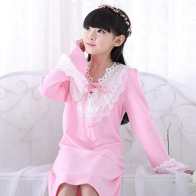 1be760a00f Girls Kids Pajama Sleepwear Girls full Sleeve Cotton Pajamas Children Lace  Pijamas Vintage Princess Nightgown kids pijama