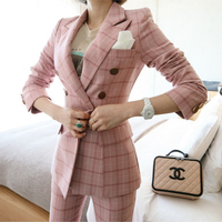 Women spring lattice Autumn Double Breasted Pink Long Jacket+Long Pant Suits Businness Work Wear Suits Two Piece/Set Office Suit