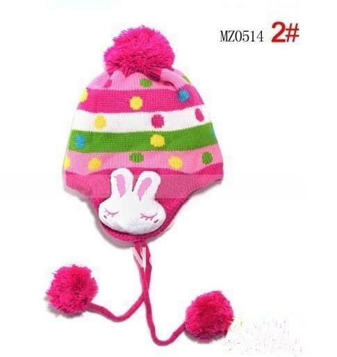 1 шт., 2013New дети точка заячьи ушки защиты вязаная шапка, Зимняя мода теплую шапку, Шапки многоцветный - Цвет: Rose Red