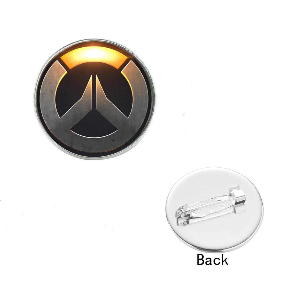 SONGDA игра Overwatch металлические шпильки Кнопка Бронзовый Серебристый позолоченный логотип OW значок брошь на рюкзак шляпа через плечо мешочек для украшений аксессуары