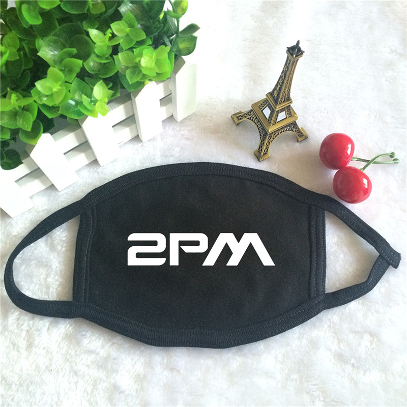 Kpop 2PM Album GENTLEMAN'S GAME Logo Print K-pop Fashion Face Masks Unisex Cotton Black Mouth Mask