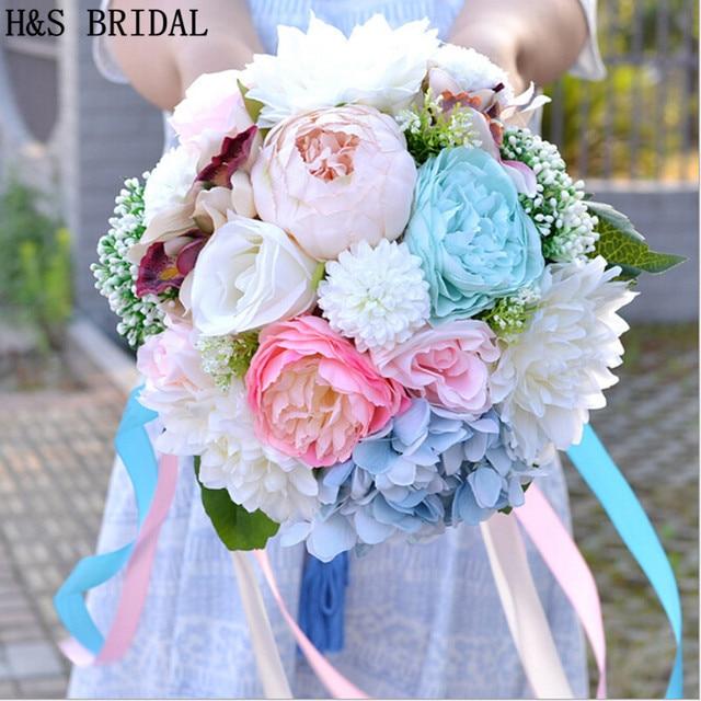 2018 Beautiful Colorful Bridal Bridesmaid Flower wedding bouquet ...